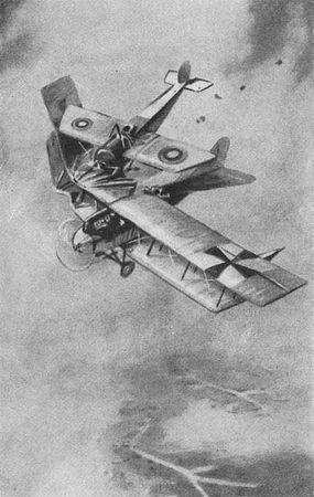 Таран Нестерова. (По рисунку летчика К. К. Арцеулова.)