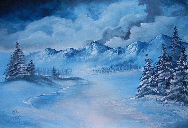 Мастер-класс по живописи для начинающих. Зимний пейзаж