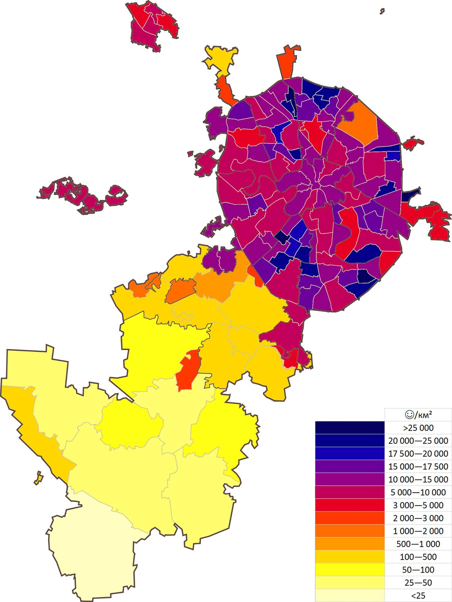 Петр Шкуматов: Плотность населения Москвы в пределах МКАД