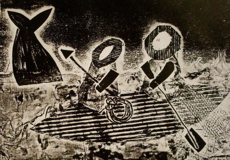Выставка НЕТРАФАРЕТНАЯ ПЕЧАТЬ.  Московская студия шелкографии,1990-е