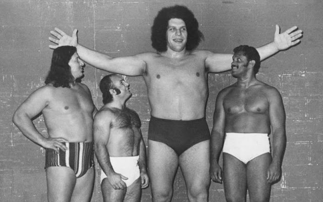 1. André stands next to some of his competitors from the World Wrestling Federation.