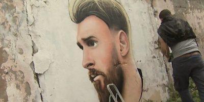 Граффити и Стрит-Арт Портрет Месси